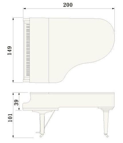Imagen del contorno piano de cola YAMAHA modelo C5X