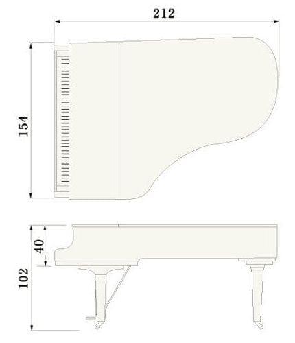 Imagen del contorno piano de cola YAMAHA modelo C6X