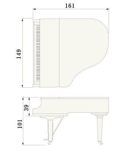 Imagen del contorno piano de cola YAMAHA modelo GC1