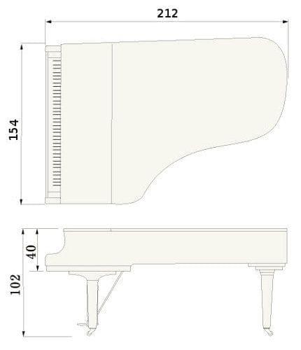 Imagen del contorno piano de cola YAMAHA modelo S6