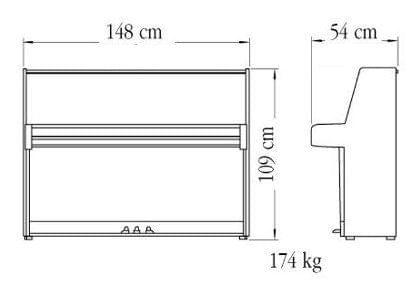 Imagen del contorno piano vertical YAMAHA modelo B1