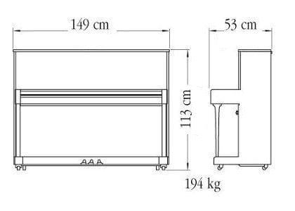 Imagen del contorno piano vertical YAMAHA modelo B2