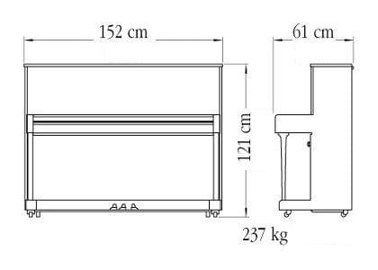 Imagen del contorno piano vertical YAMAHA modelo B3