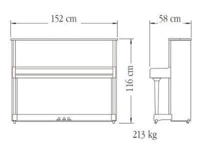 Imagen del contorno piano vertical YAMAHA modelo P116