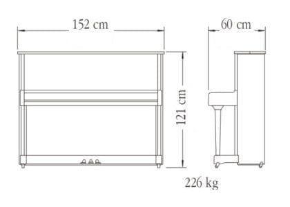 Imagen del contorno piano vertical YAMAHA modelo P121