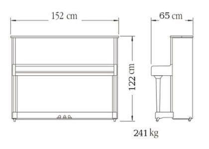 Imagen del contorno piano vertical YAMAHA modelo SE122