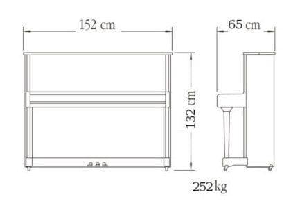 Imagen del contorno piano vertical YAMAHA modelo SE132