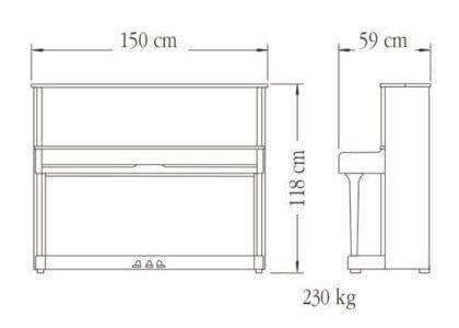 Imagen del contorno piano vertical YAMAHA modelo SU118C