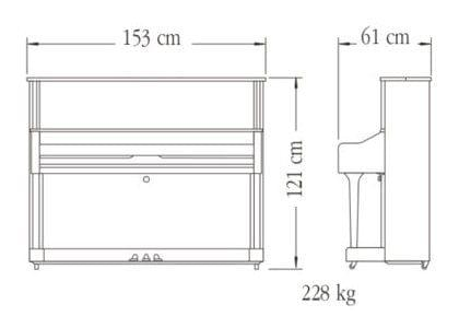 Imagen del contorno piano vertical YAMAHA modelo U1