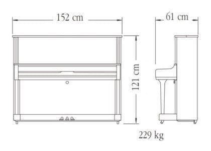 Imagen del contorno piano vertical YAMAHA modelo YUS1