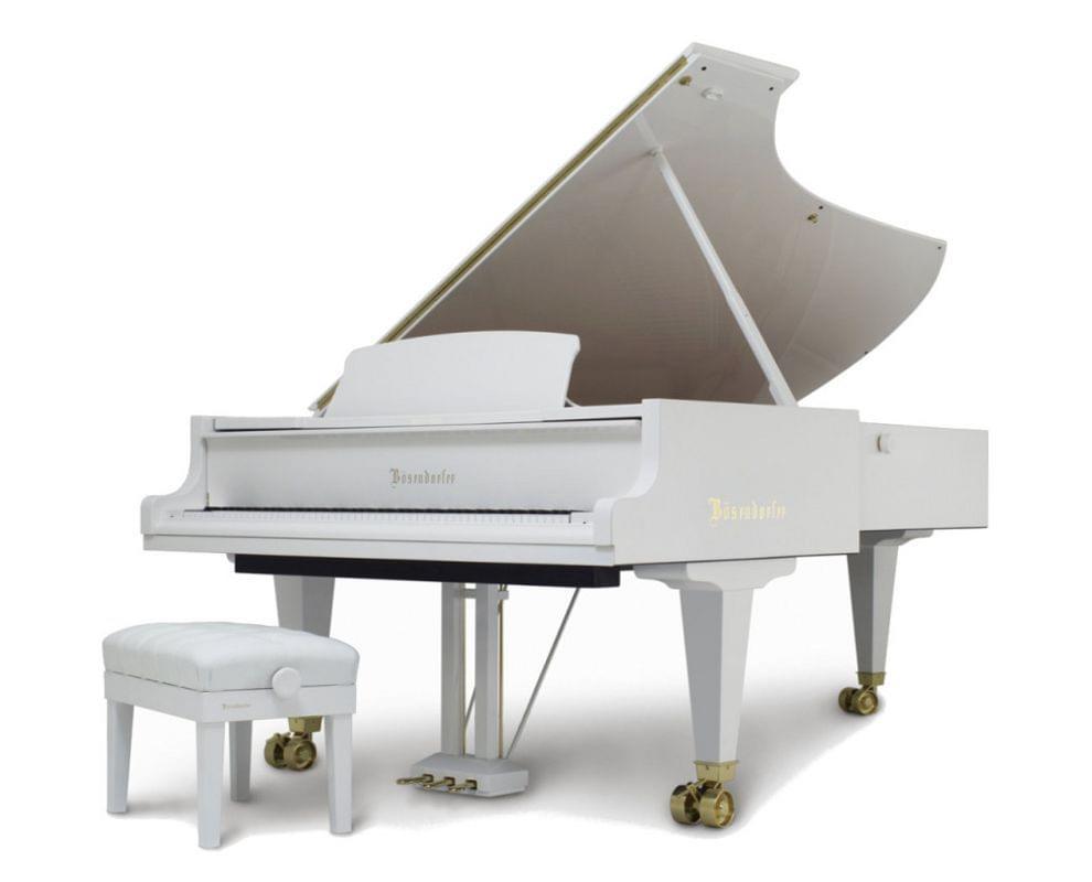 Imagen piano de cola BÖSENDORFER modelo estándar 290 imperial color blanco con banqueta