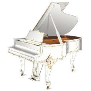 Imagen piano de cola GROTRIAN modelo especial 192 cámara Louis XV blanco con adornos dorados