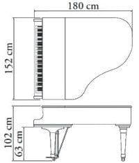 Imagen del contorno piano de cola KAWAI modelo GX-2