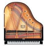 Imagen piano de cola YAMAHA CX Series. Modelo C1X color negro pulido vista cenital