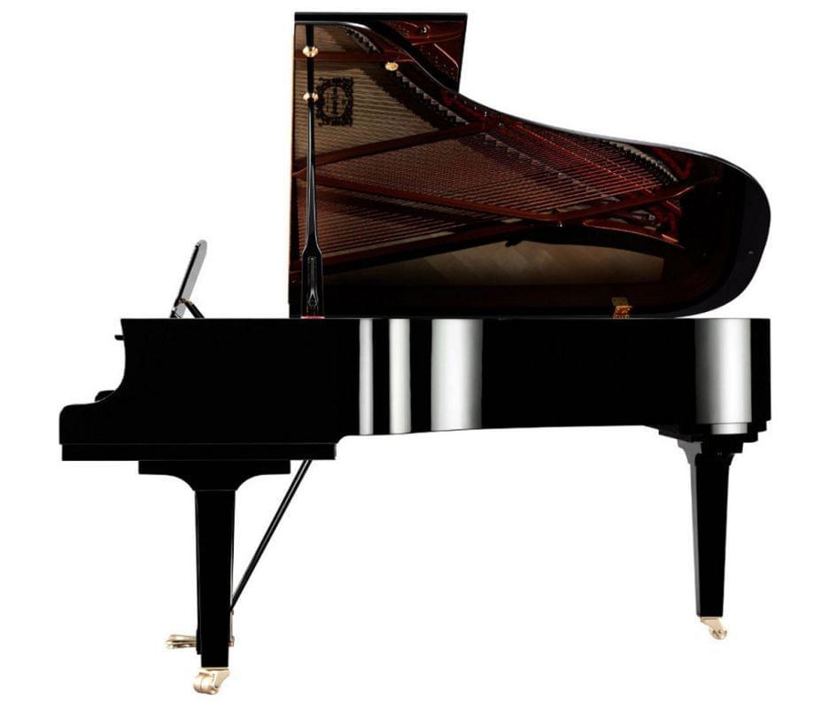 Imagen piano de cola YAMAHA CX Series. Modelo C6X color negro pulido vista lateral
