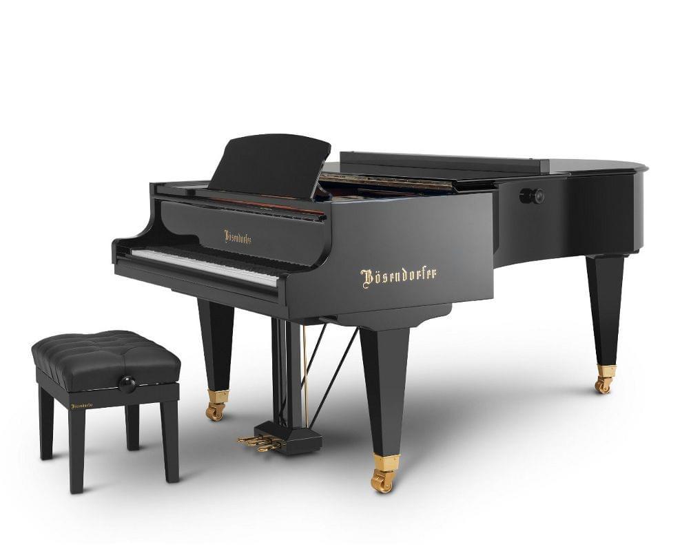 Imagen piano de cola BÖSENDORFER modelo 225 cerrado con banqueta