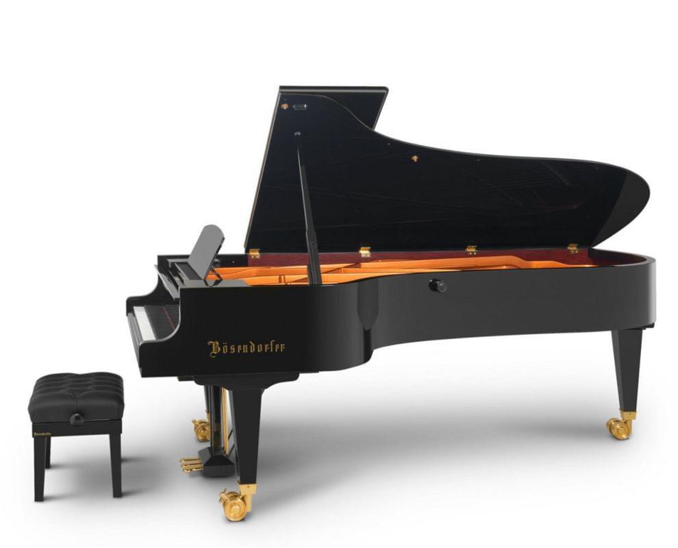 Imagen piano de cola BÖSENDORFER modelo estándar 280 color negro con banqueta vista lateral