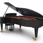 Imagen piano de cola BÖSENDORFER modelo estándar 280 color negro con banqueta vista posterior