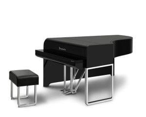 Imagen piano de cola BÖSENDORFER modelo de diseño AUDI color negro cerrado con banqueta