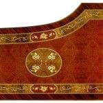 Imagen Piano de cola BÖSENDORFER modelo especial Artisan madera Amboyna vista cenital detalle decorado