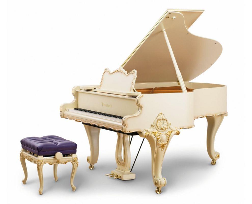 Imagen piano de cola BÖSENDORFER modelo especial Baroque con banqueta color marfil satinado