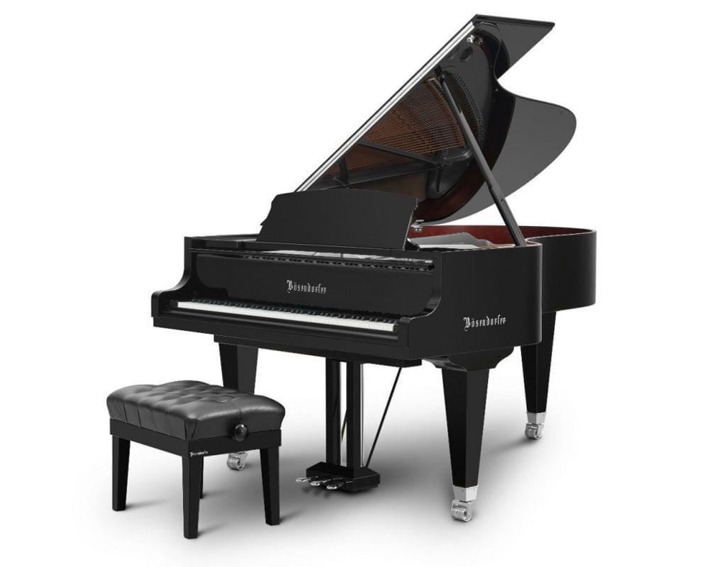 Imagen piano de cola BÖSENDORFER modelo especial Chrome con banquet