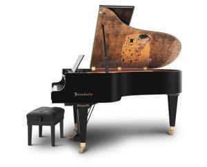Imagen piano de cola BÖSENDORFER modelo especial Klimt con banqueta vista lateral