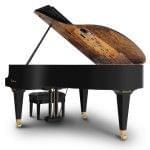 Imagen piano de cola BÖSENDORFER modelo especial Klimt con banqueta vista posterior