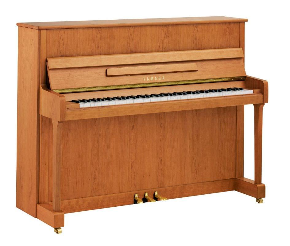 Imagen piano vertical YAMAHA. P Series. Modelo P116 color cerezo satinado