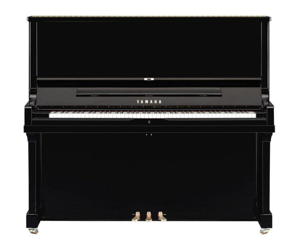 Imagen piano vertical YAMAHA SE Series. Modelo SE132 color negro pulido vista frontal