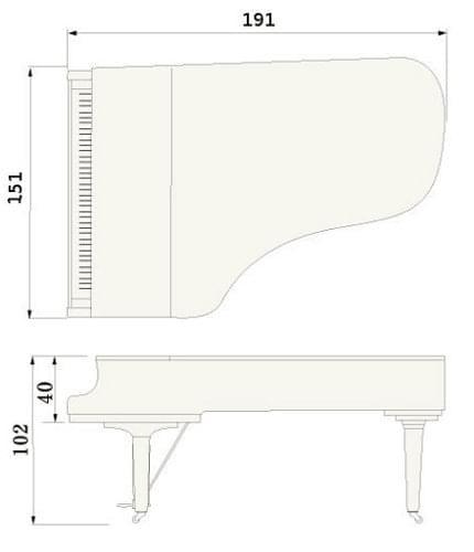 Imagen del contorno piano de cola YAMAHA modelo CF4