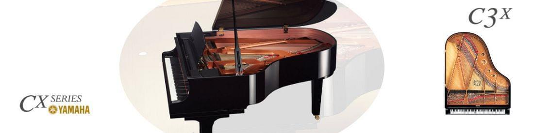 Imagen piano de cola YAMAHA CX Series. Modelo C3X  color negro pulido