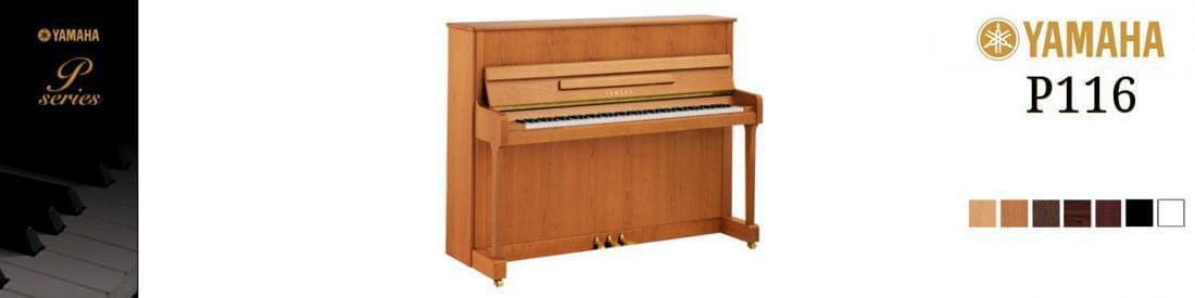 Imagen piano vertical YAMAHA. P Series modelo P116 color cerezo