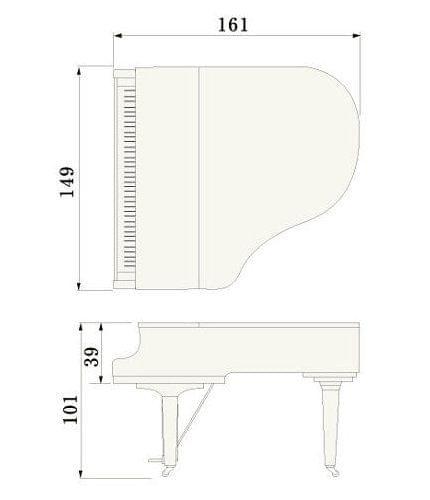 Imatge del contorn piano de cua YAMAHA model C1X
