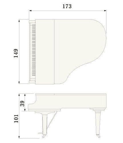Imatge del contorn piano de cua YAMAHA model C2X