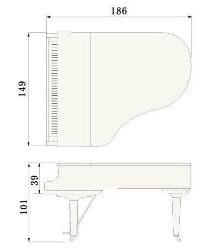 Imatge del contorn piano de cua YAMAHA model C3X