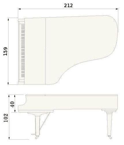 Imatge del contorn piano de cua YAMAHA model CF6