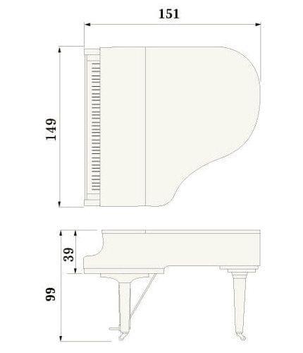 Imatge del contorn piano de cua YAMAHA model GB1