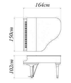 Imatge del contorn piano de cua KAWAI model GE-30