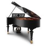 Imagen piano de cola BÖSENDORFER edició limitada aniversario Franz Liszt con banqueta vista posterior