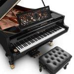 Imagen piano de cola BÖSENDORFER edició limitada aniversario Franz Liszt con banqueta detalle vista superior