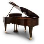 Imagen piano de cola BÖSENDORFER model estándar 200 color nogal con banqueta vista posterior