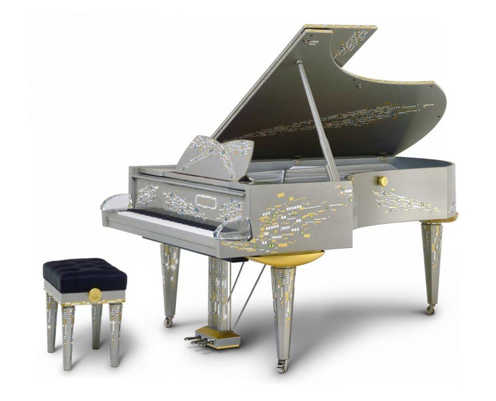 Imagen piano de cola BÖSENDORFER model diseño Swarovski con banqueta