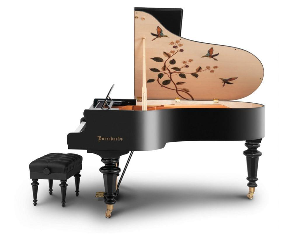 Imagen piano de cola BÖSENDORFER model especial Hummingbirds con banqueta vista lateral