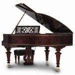 Imagen piano de cola BÖSENDORFER model especial Liszt con banqueta vista posterior acabados madera sequoia, vavona polyester