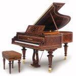 Imagen piano de cola BÖSENDORFER model especial Vienna con banqueta madera sequoia