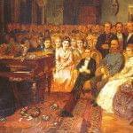 Pintura original en la Sala Bösendorfer que muestra a Franz Liszt tocando un concierto para el emperador Franz Joseph y la corte en un piano Bösendorfer de cola