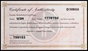 Ejemplo de un certificado de autenticidad de un piano de segunda mano YAMAHA2
